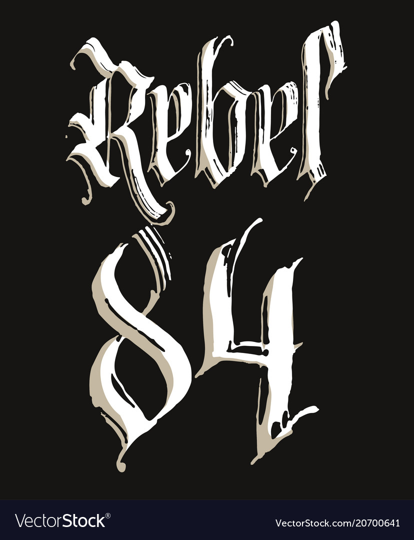 Rebel t-shirt with gothic calligraphy lettering vector image