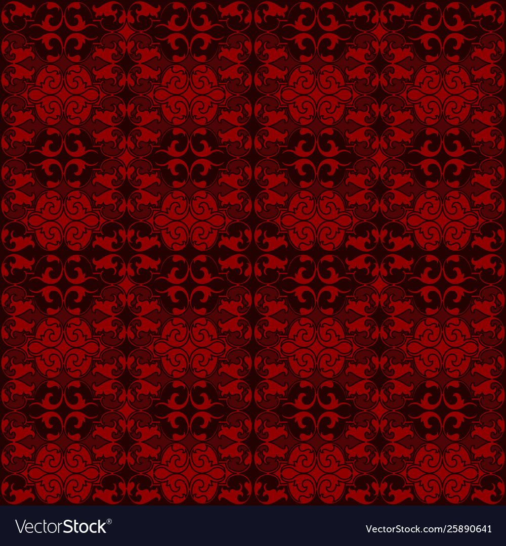 Red damask tapestry with floral patterns