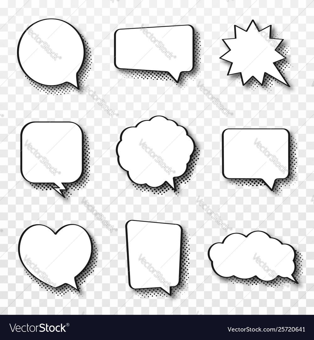 Set comic speech bubbles vintage empty comic