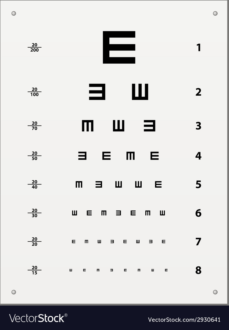 Snellen Eye Test Chart Royalty Free Vector Image