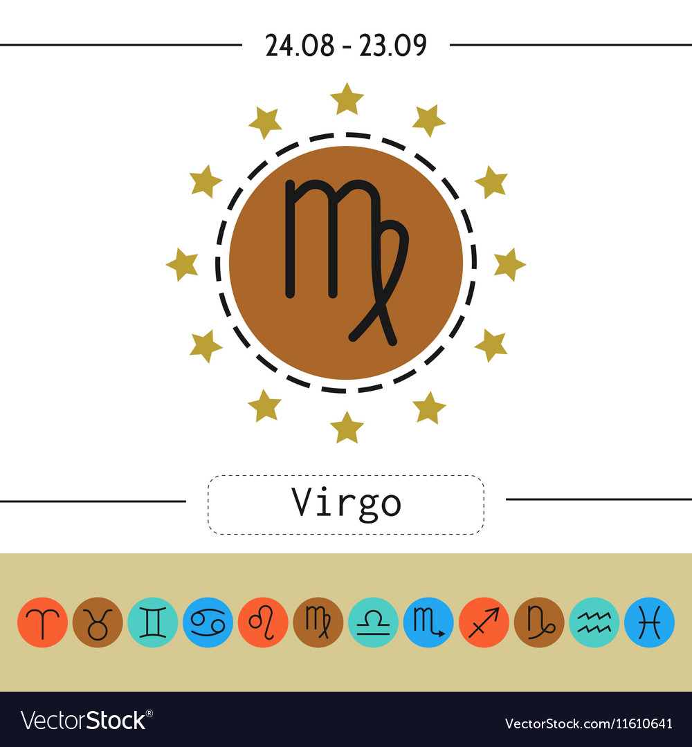 Virgo Signs of zodiac flat linear icons for vector image