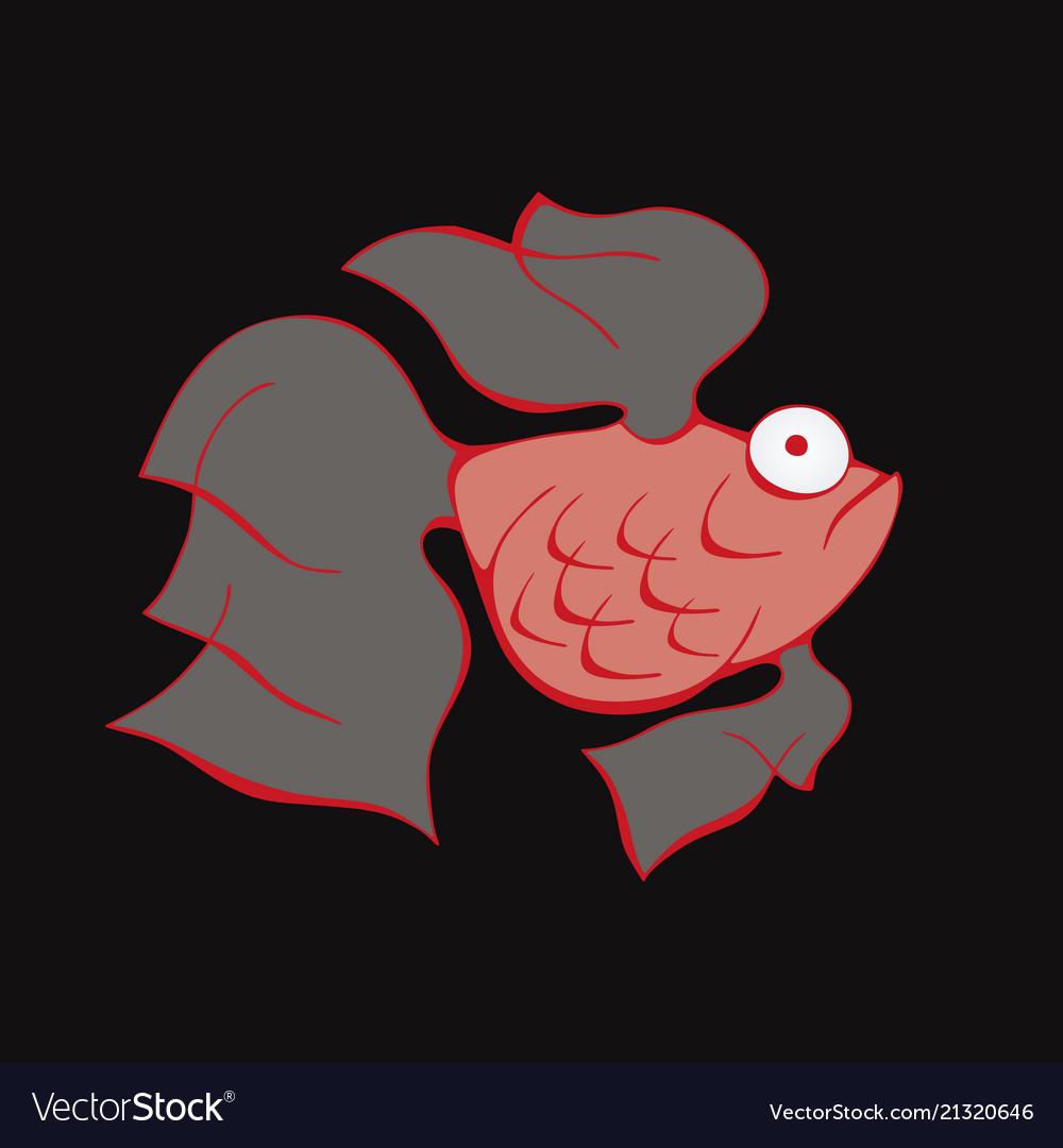 Aquarium fish silhouette colorful cartoon flat Vector Image