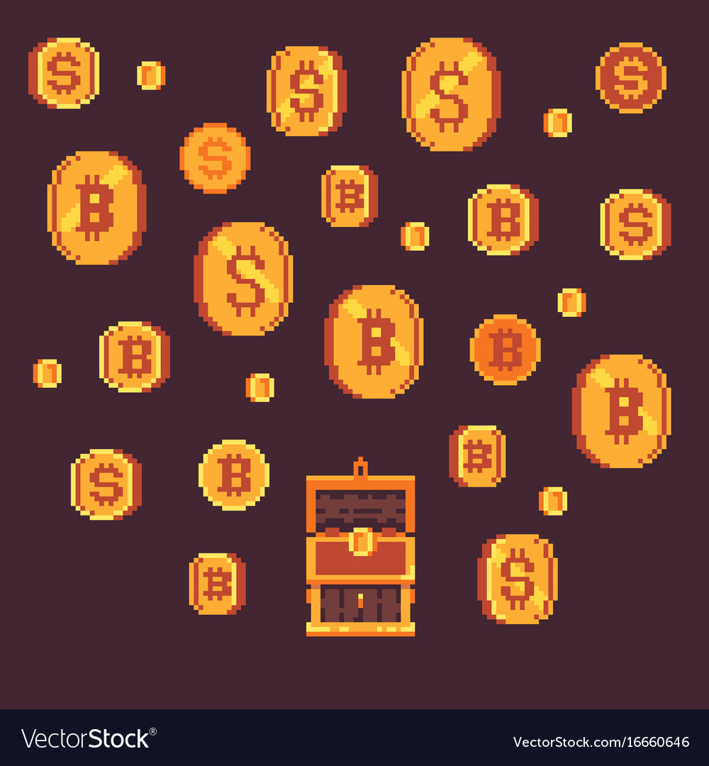 Bitcoin and golden coints with open chest pixel