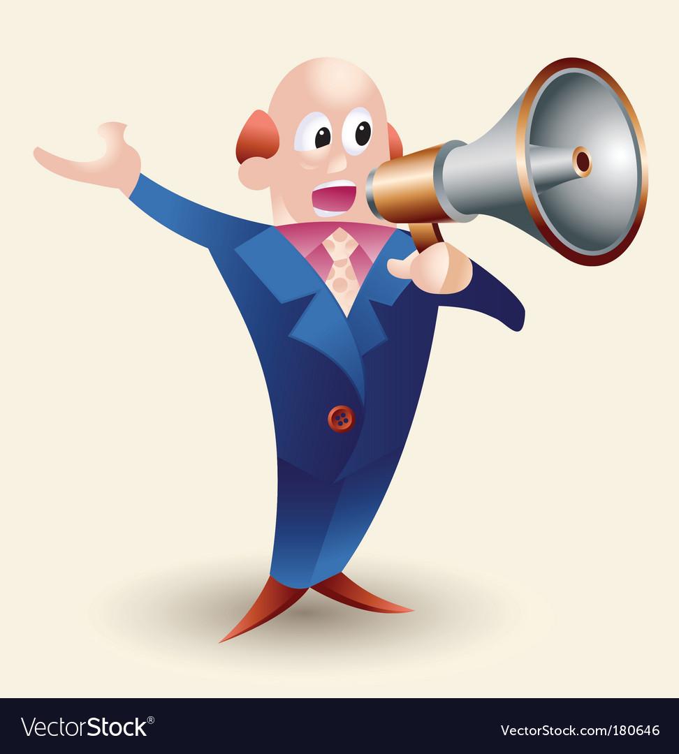 Cartoon man with megaphone vector image