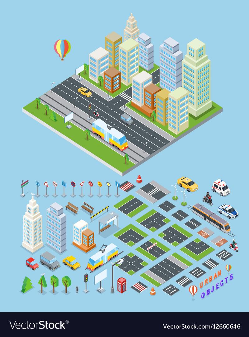 City landscape urban objects