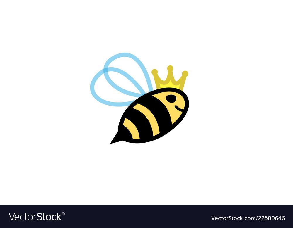 Creative cute little flying bee queen logo