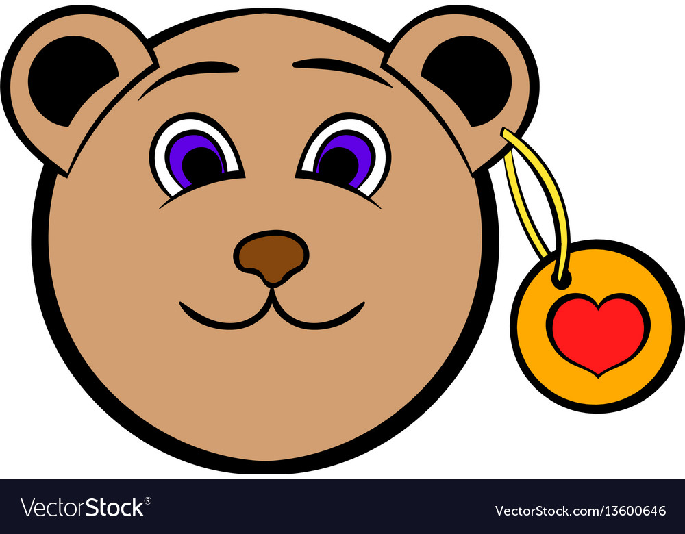 Head of a teddy bear with a heart label icon