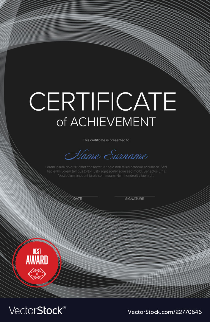 Modern Certificate Vertical Template Royalty Free Vector