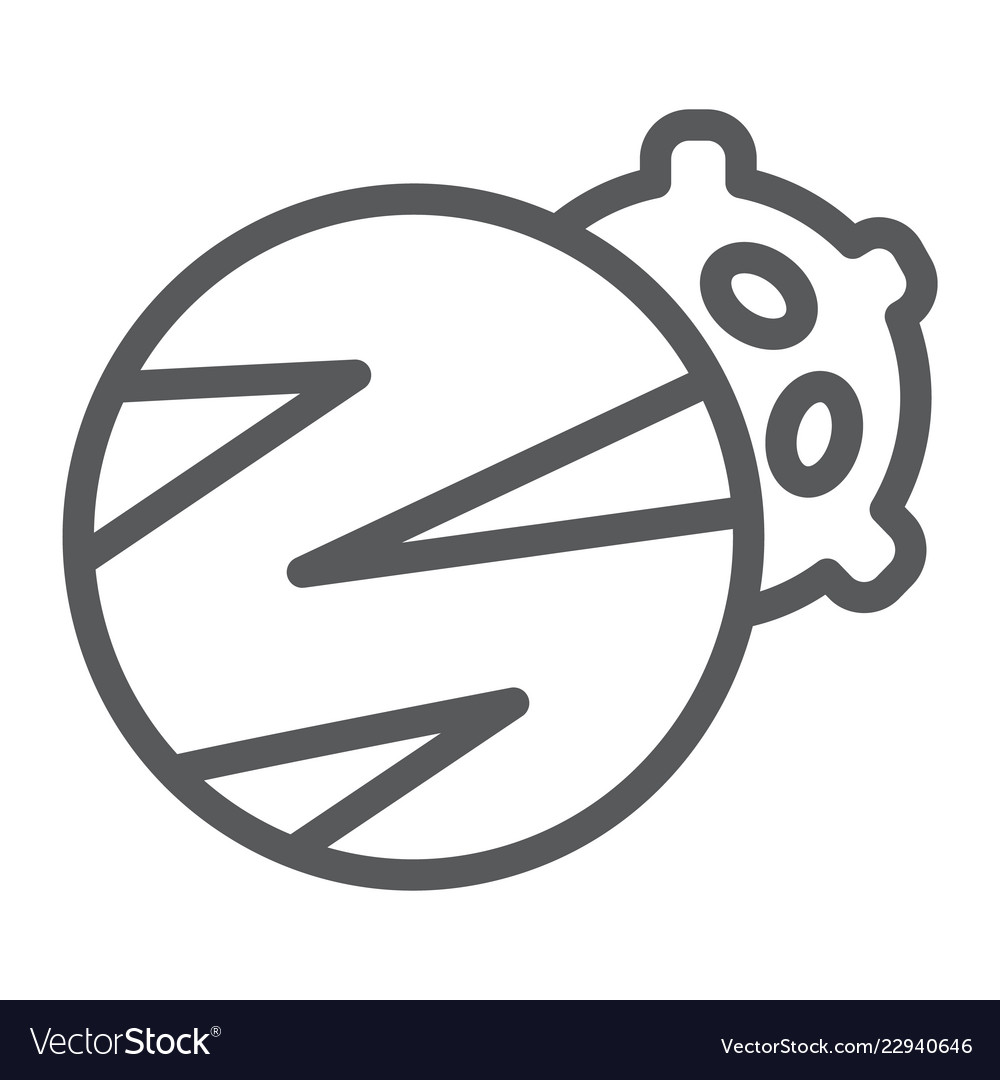 Planets line icon space and astronomy two planet