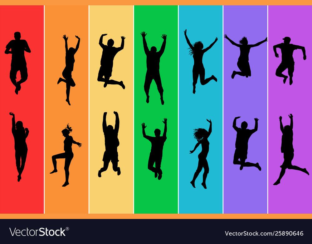 Silhouettes people jumping on rainbow