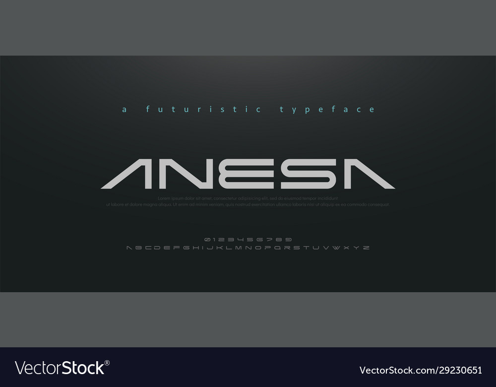 Abstract technology space font and alphabet