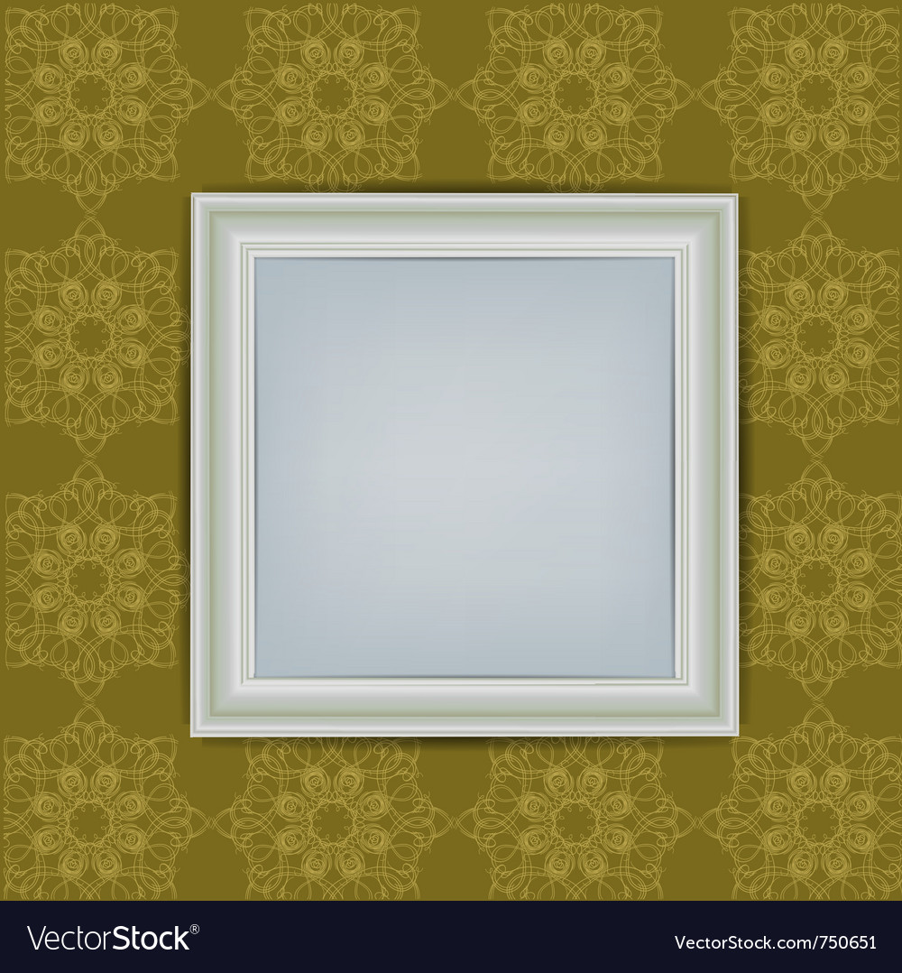 Blank white frame on wall Royalty Free Vector Image