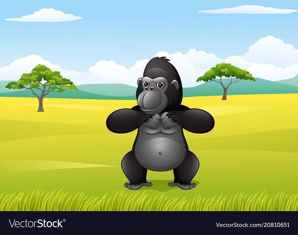Cartoon gorilla in the savannah landscape