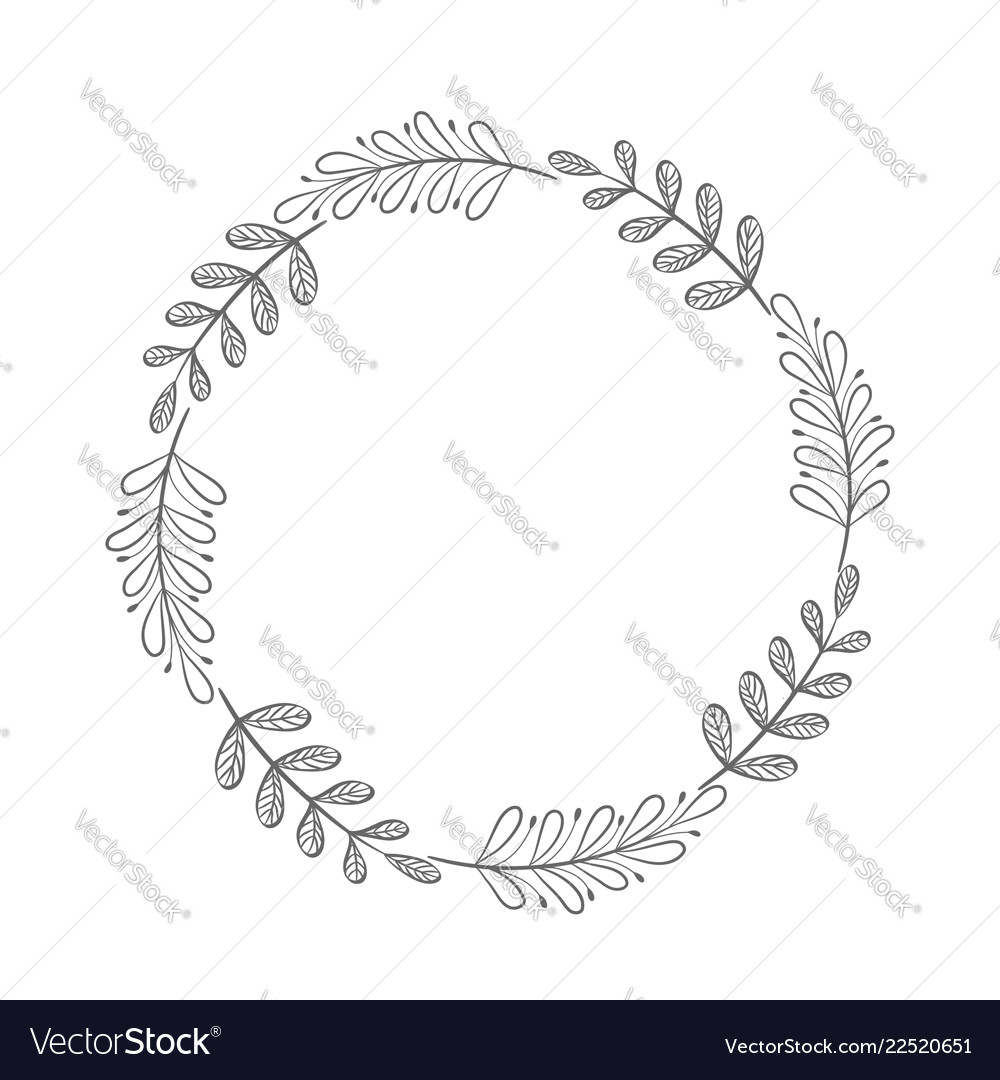 Hand drawn floral wreath round frame with leaves