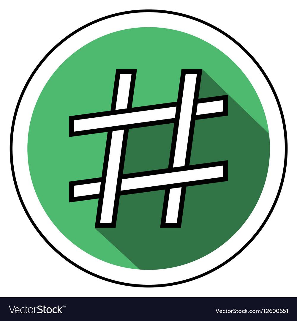 Hashtag icon flat style
