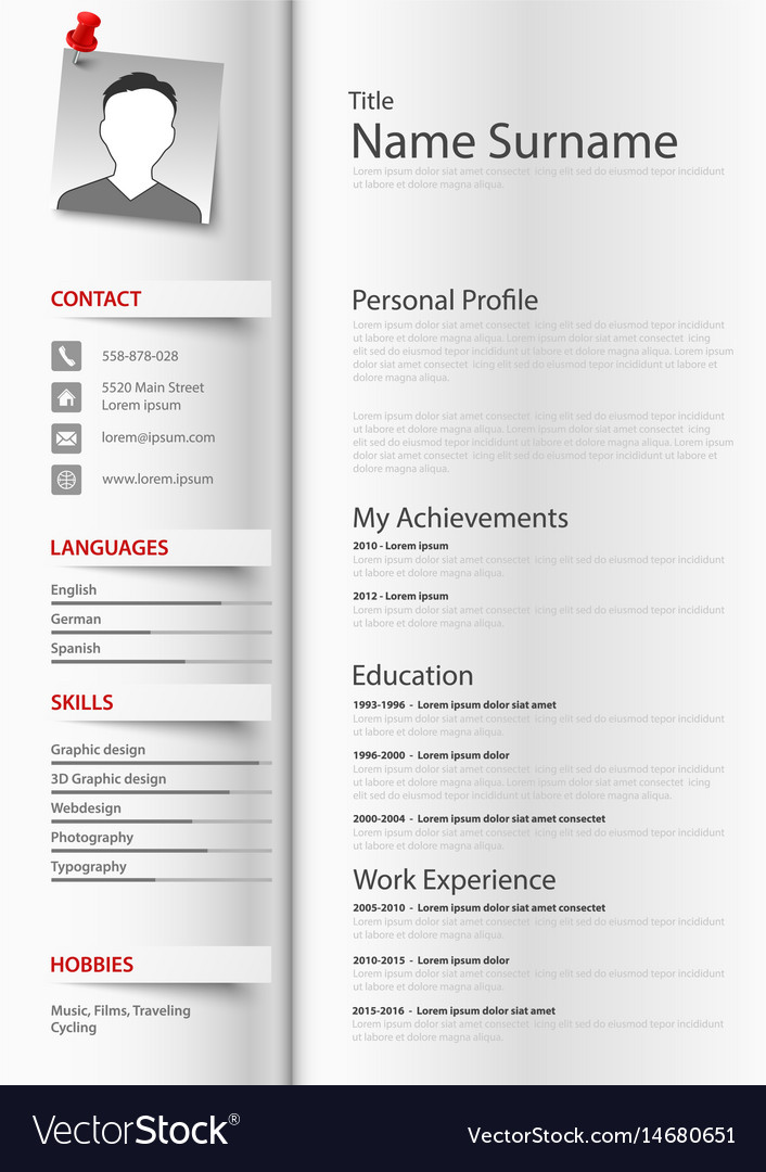 Professional resume cv as a book with tabs vector image