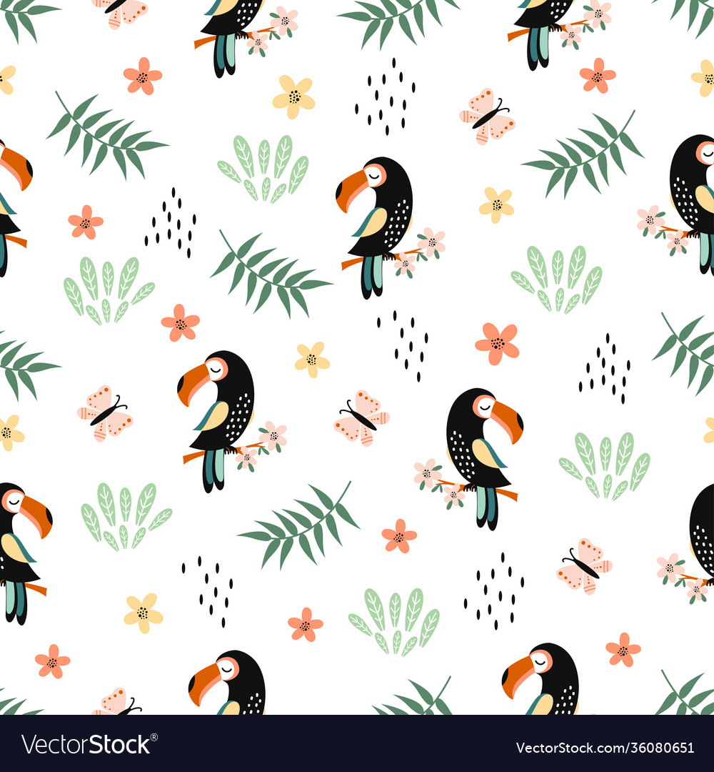 Seamless pattern with toucan cute animal