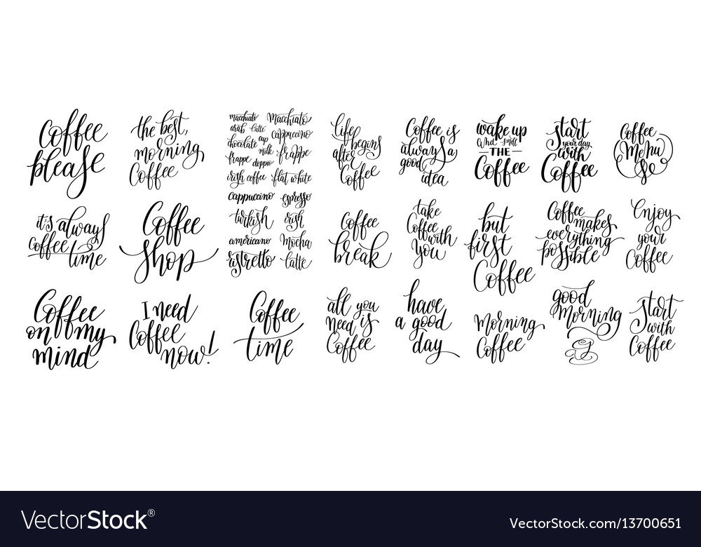 Set of black and white hand written lettering