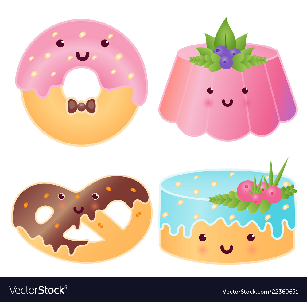 Set of cute sweets jelly pudding donut pretzel