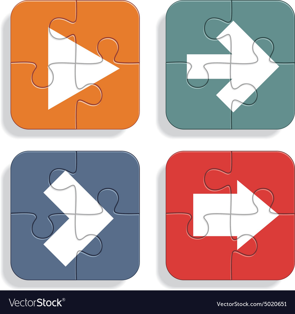 Set of different puzzle arrows icons
