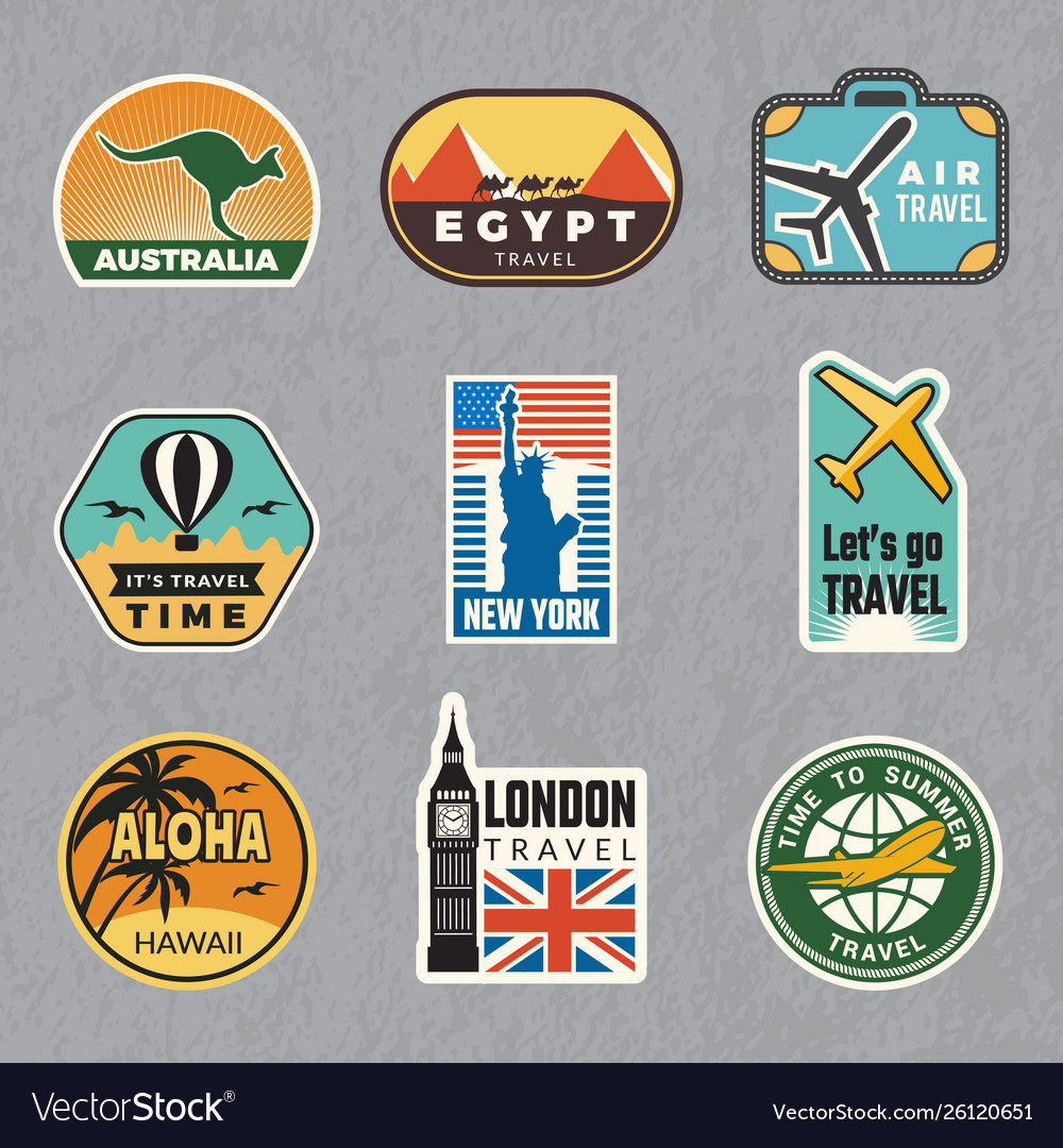 Travel vintage sticker summer vacation labels for