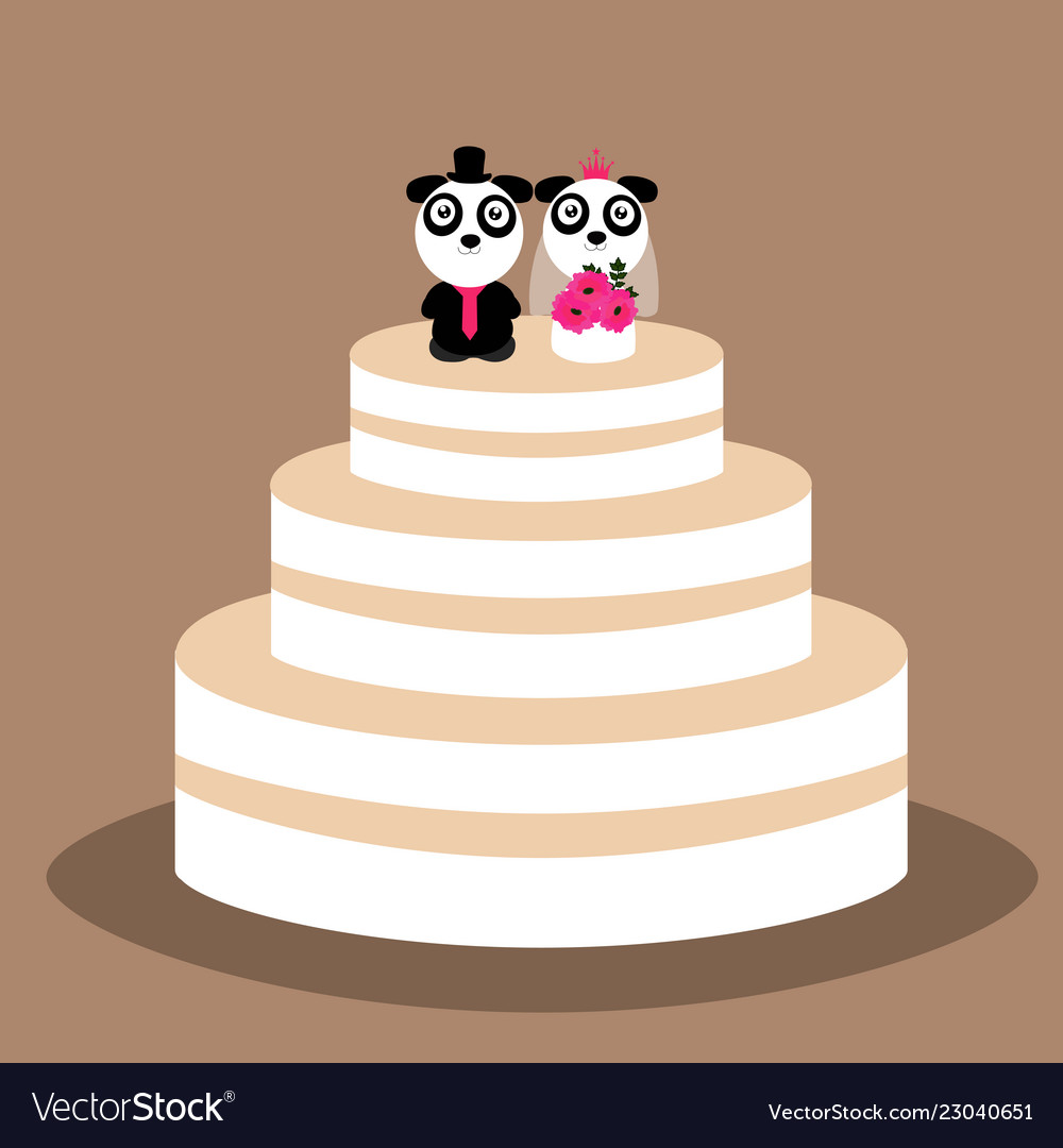 Wedding Cake With Funny Pandas Royalty Free Vector Image