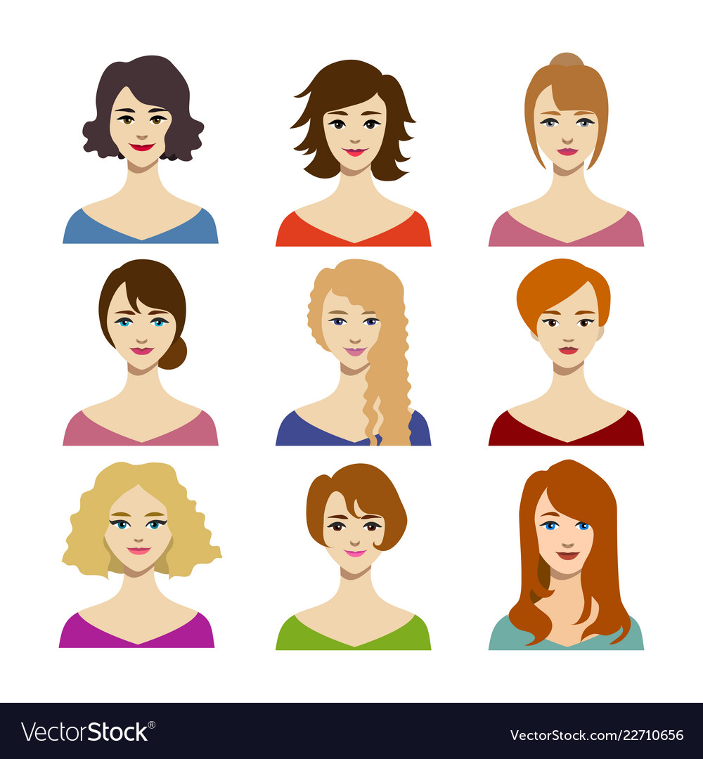 Cartoon color woman hairstyles icons set