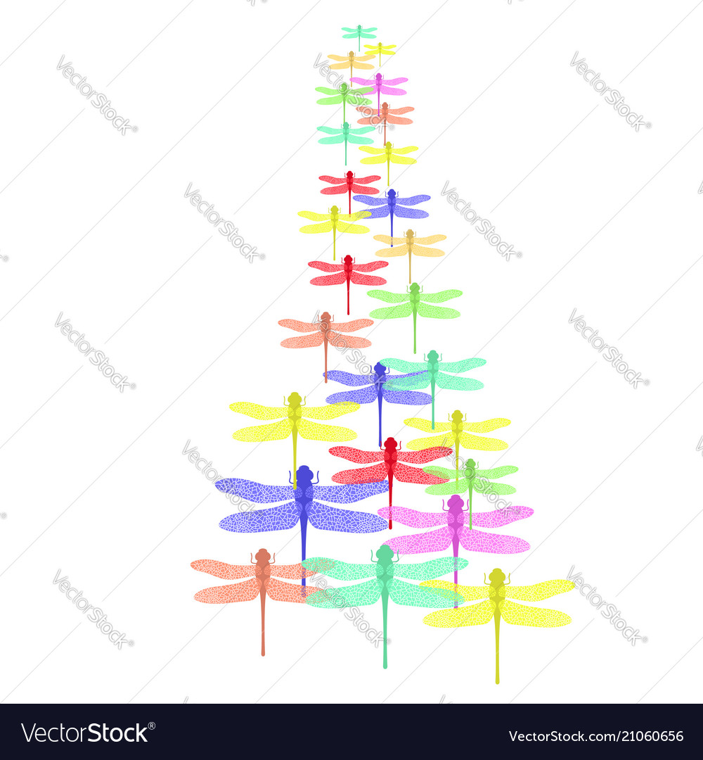 Colored stilized dragonfly set insect logo design