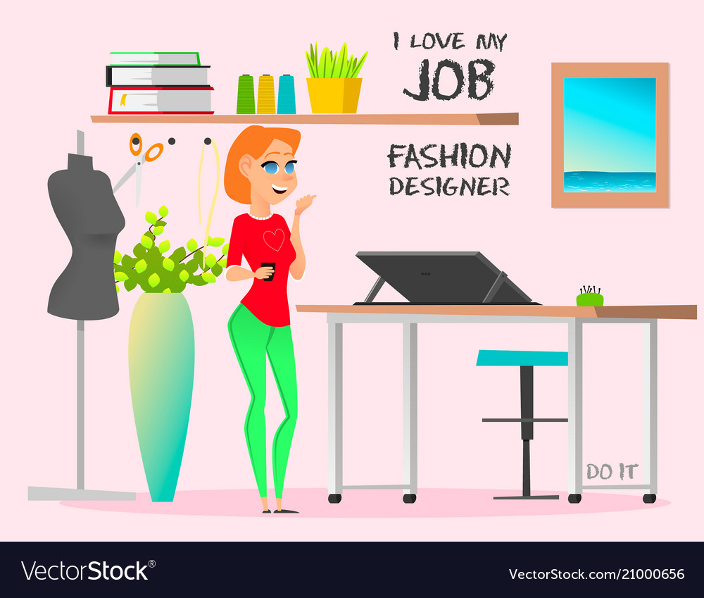 Dream Job Fashion Designer Do It Royalty Free Vector Image