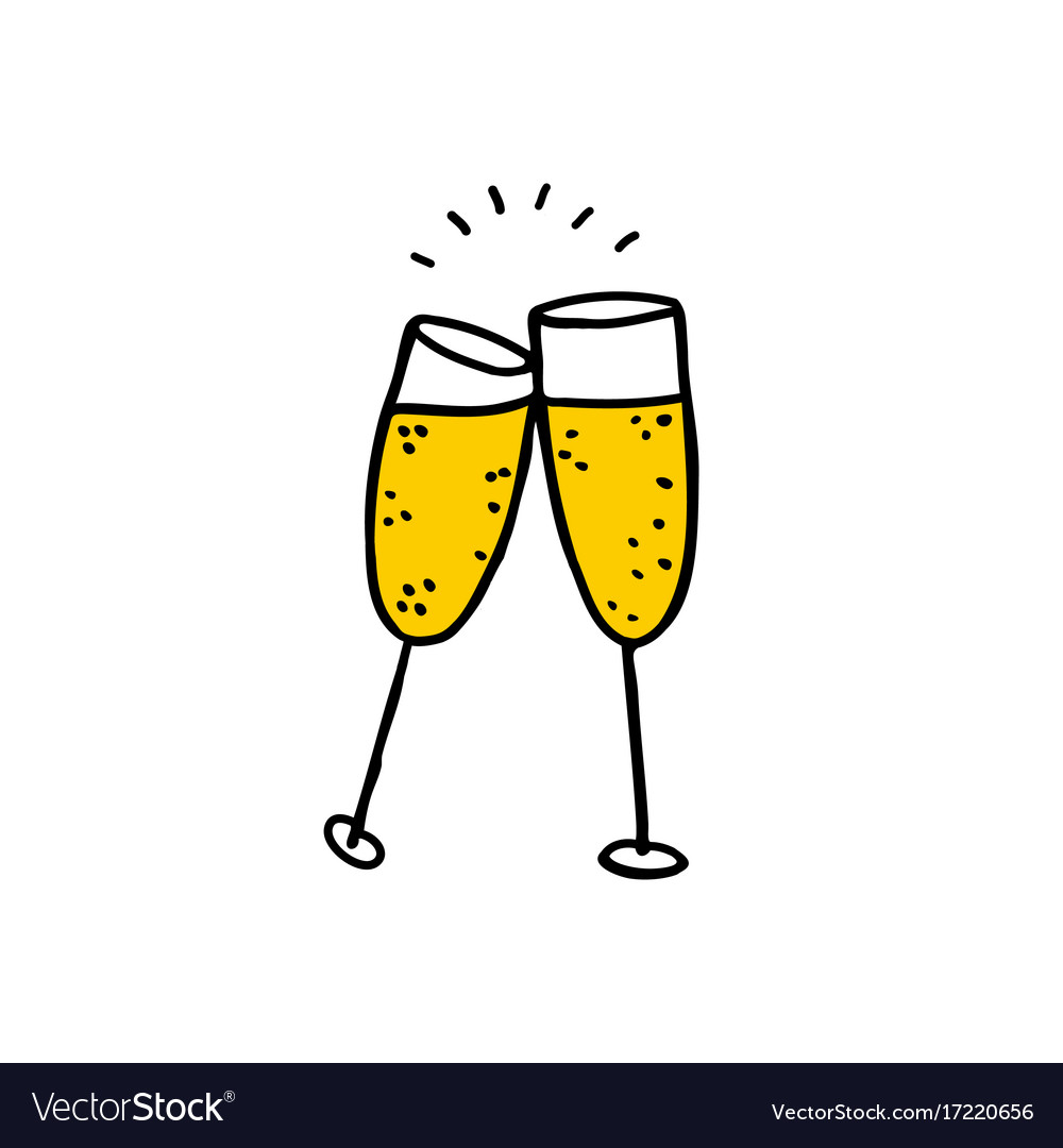 Glasses of champagne doodle icon