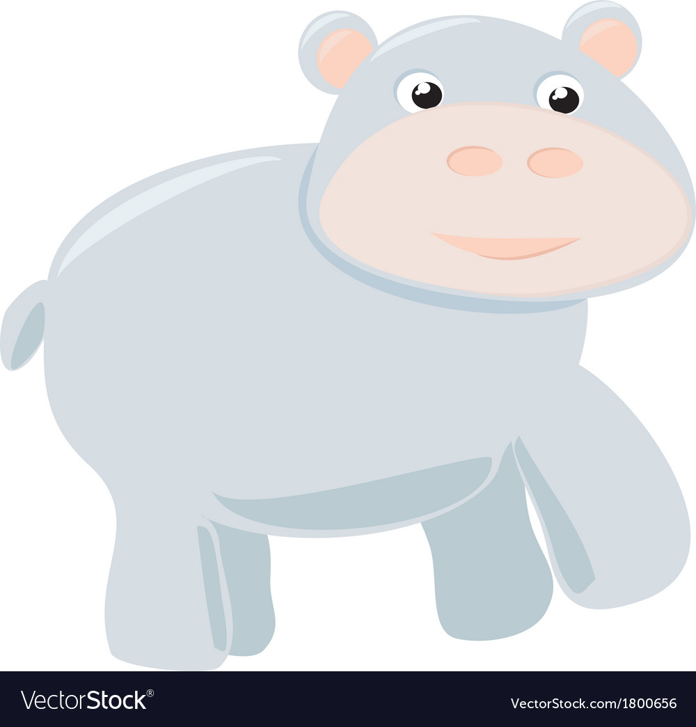 Happy hippo baby isolated on white background