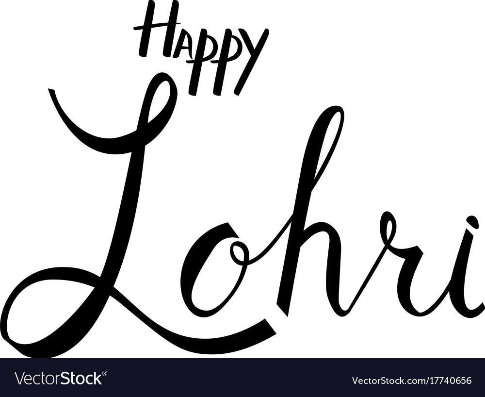 Happy lohri hand lettering inscription vector image