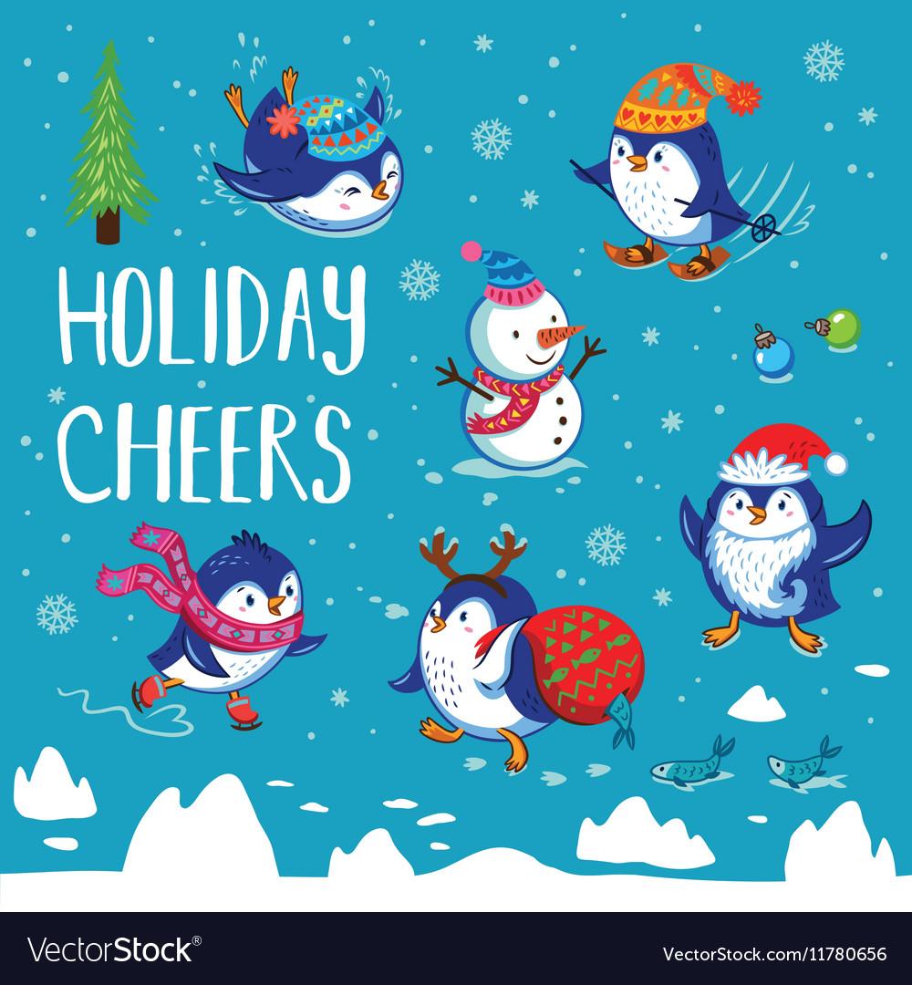 Holidays card with cute cartoon penguins
