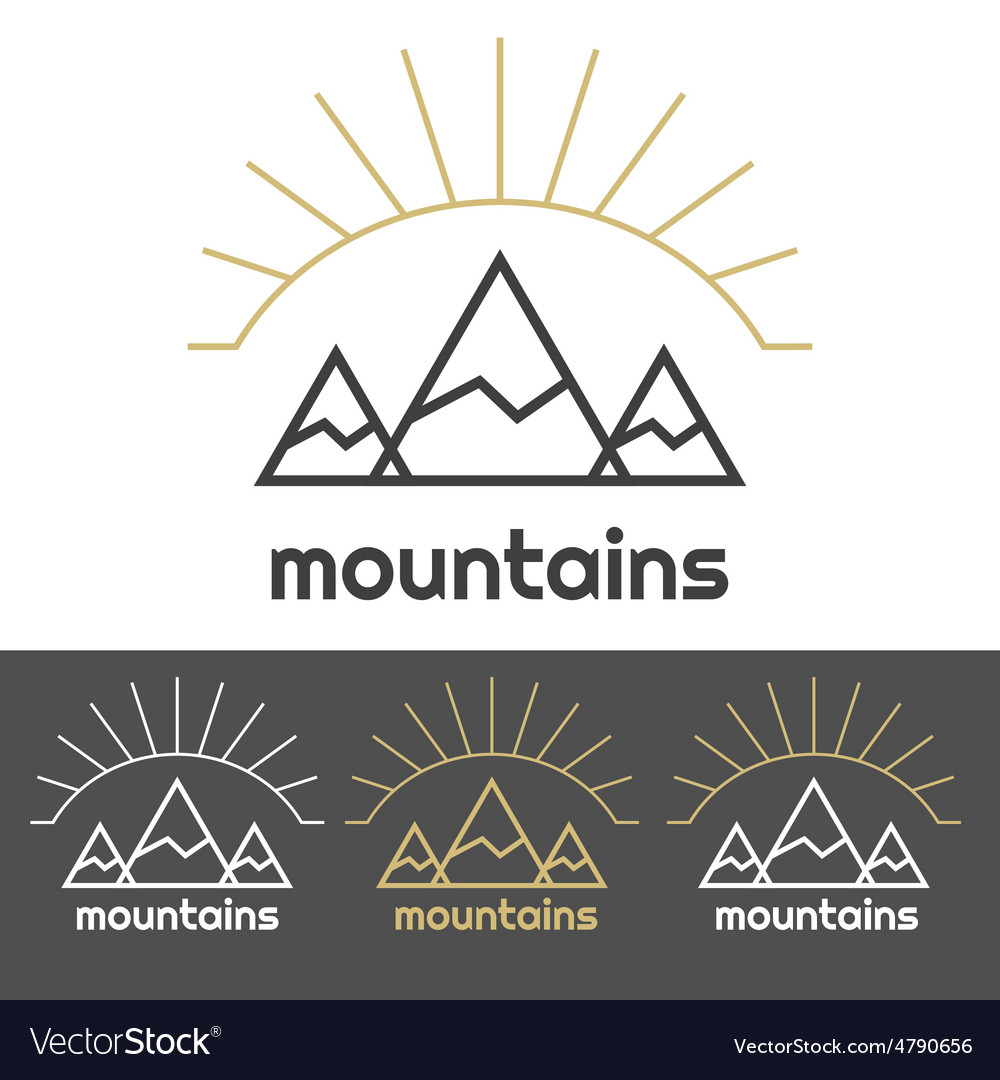 Mountains camp logo with sunrise behind hills