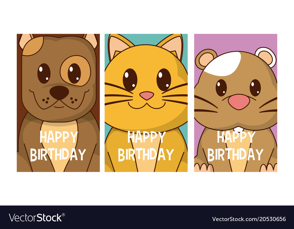 Set Of Birthday Cards With Animals Vector Image