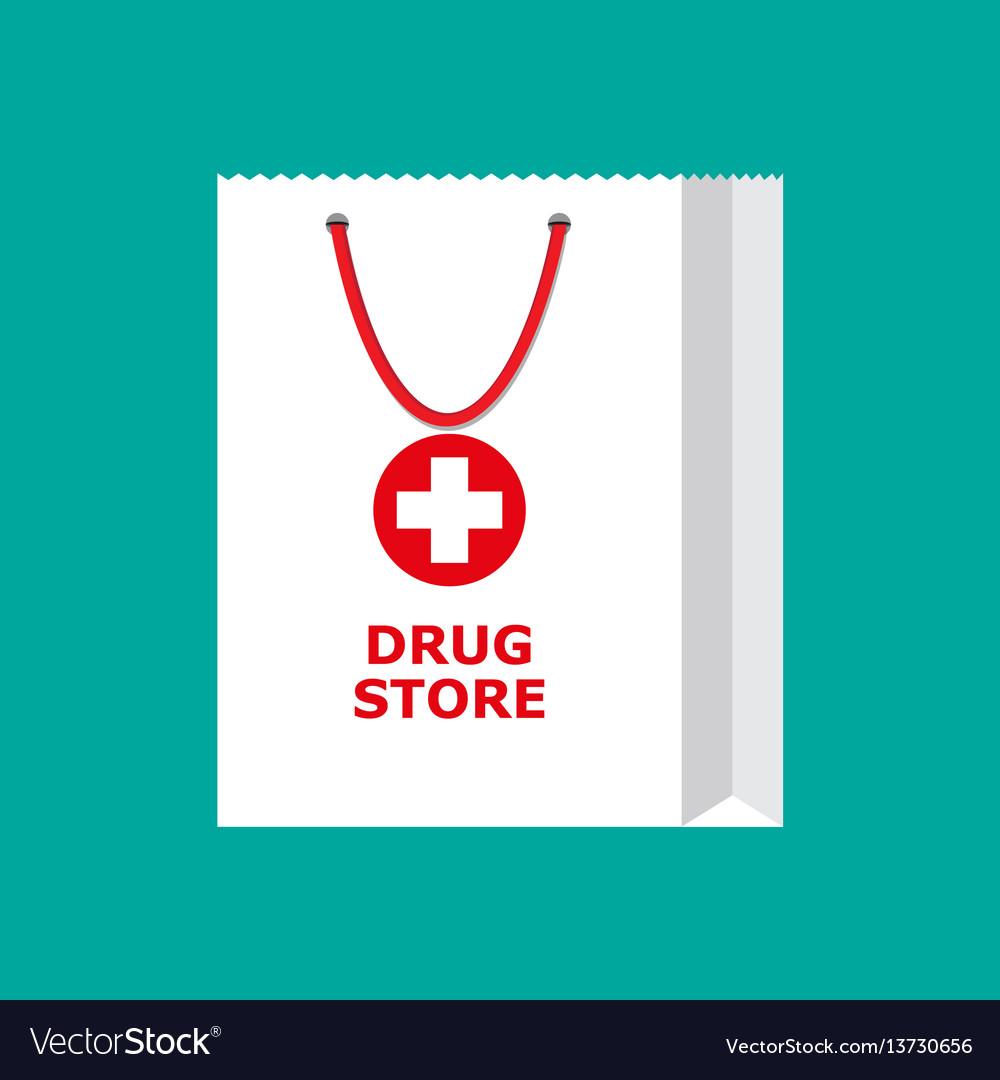 White shopping bag for medical pills and bottles vector image