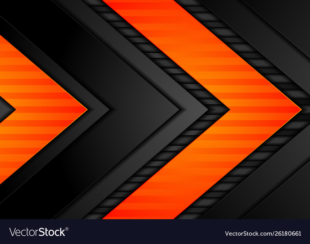 Abstract Black Orange Arrows Tech Background