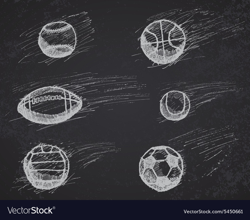 Ball sketch set with shadow and dynamic effect on