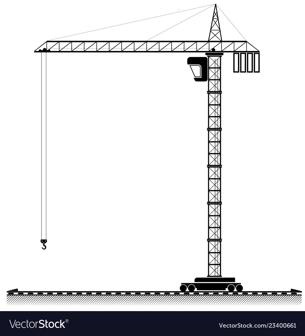 Black outline of a high tower crane for an