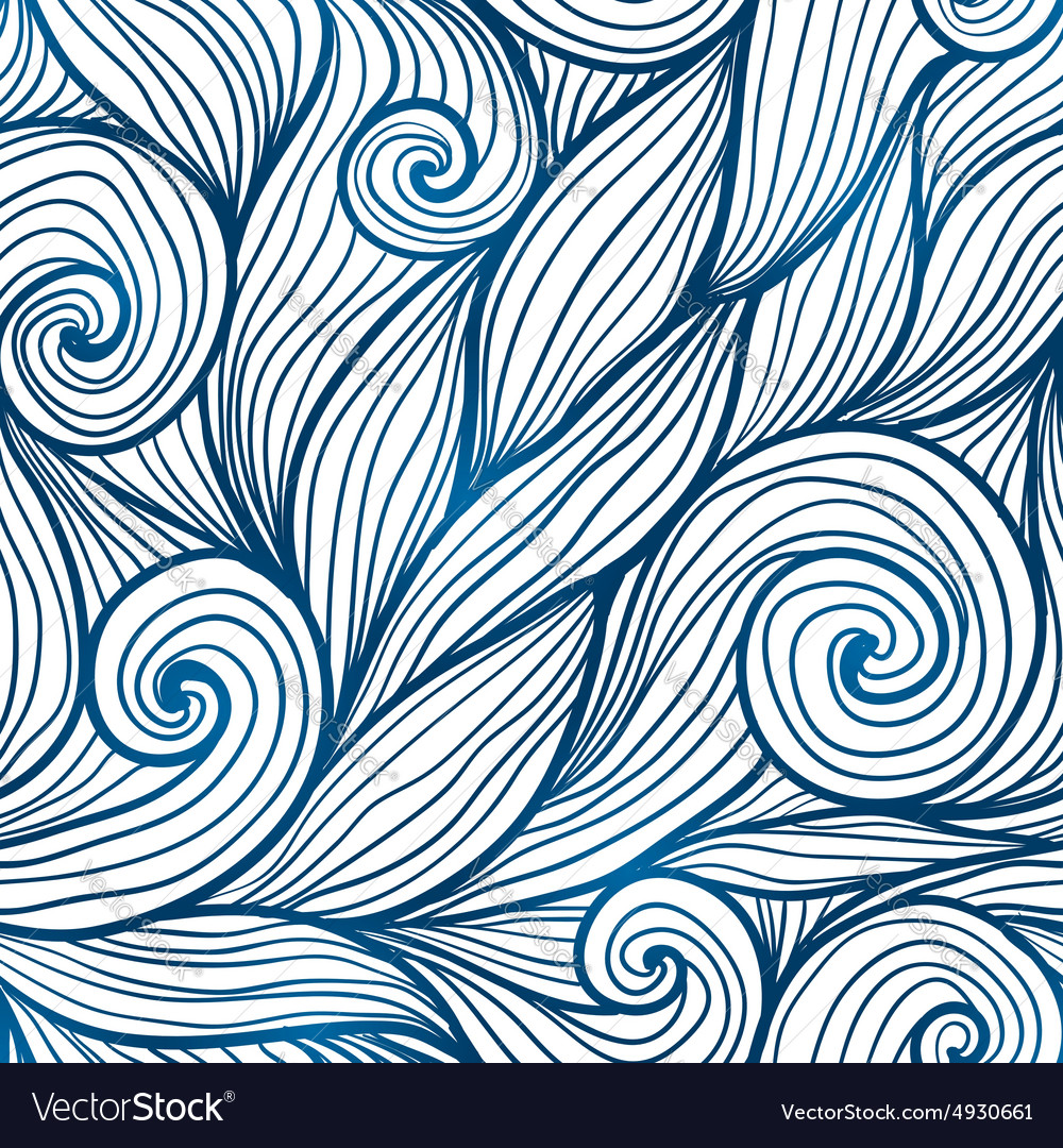 Blue doodle hair waves seamless pattern vector image