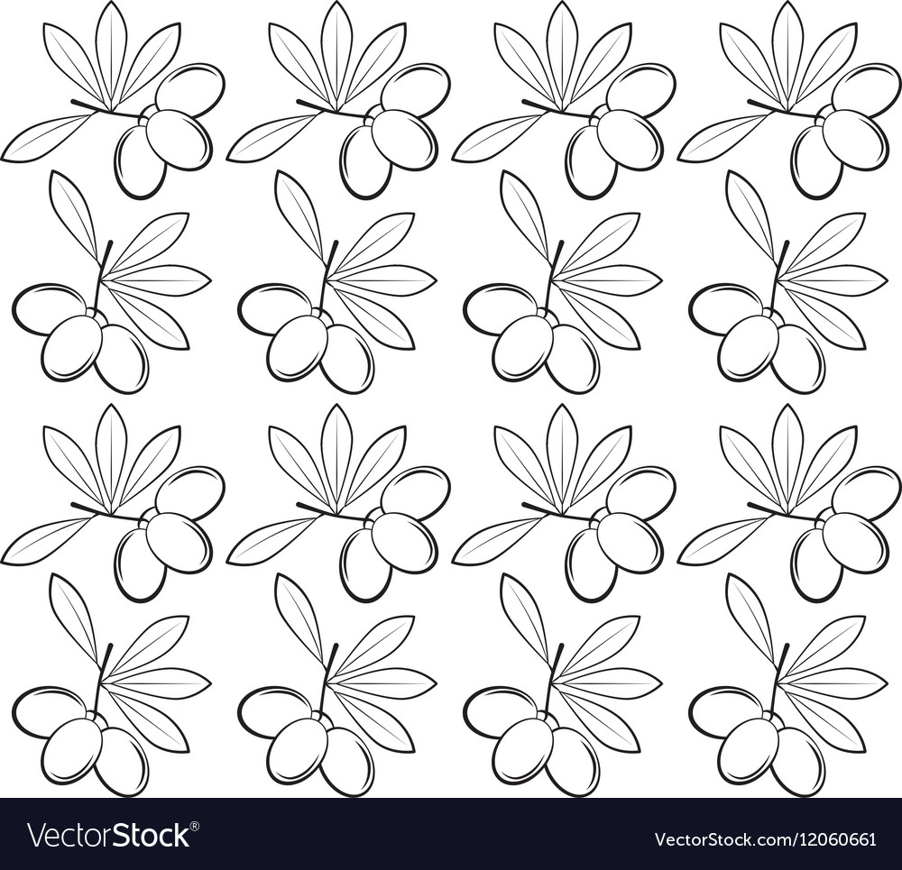 Branch olive leaves seamless pattern design