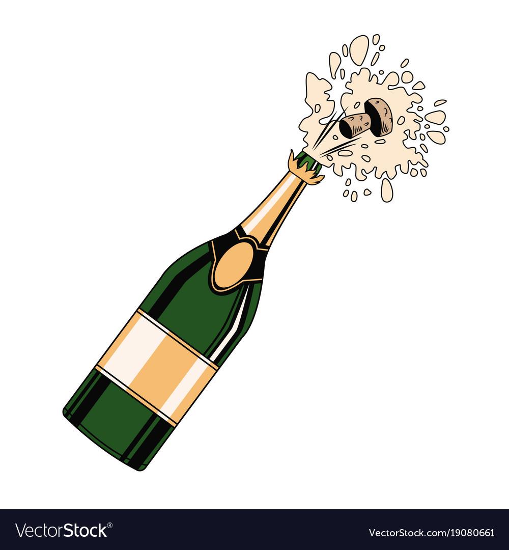 Champagne bottle open pop art