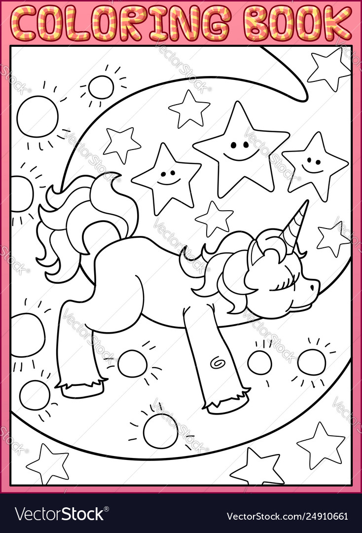 Coloring book page cute little unicorn on moon