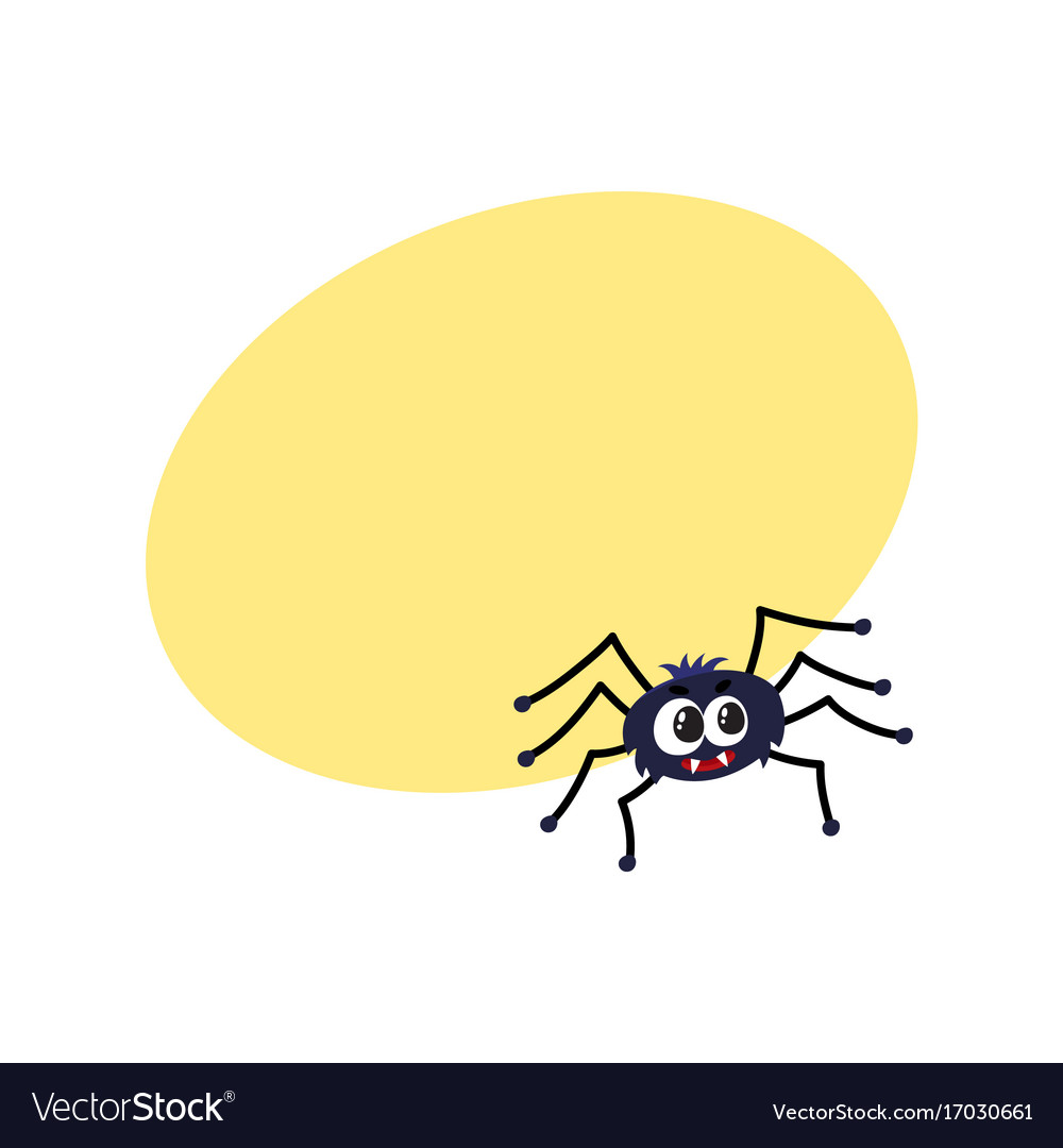 Cute funny black spider traditional halloween