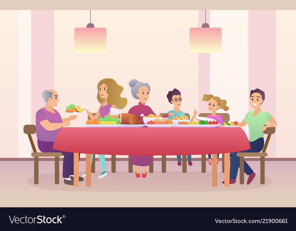 Family dinner christmas or thanksgiving day