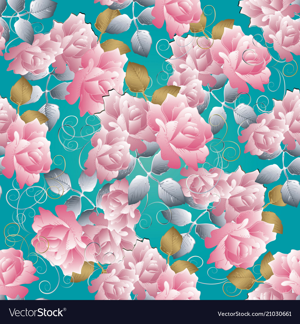 Floral 3d roses seamless pattern blue