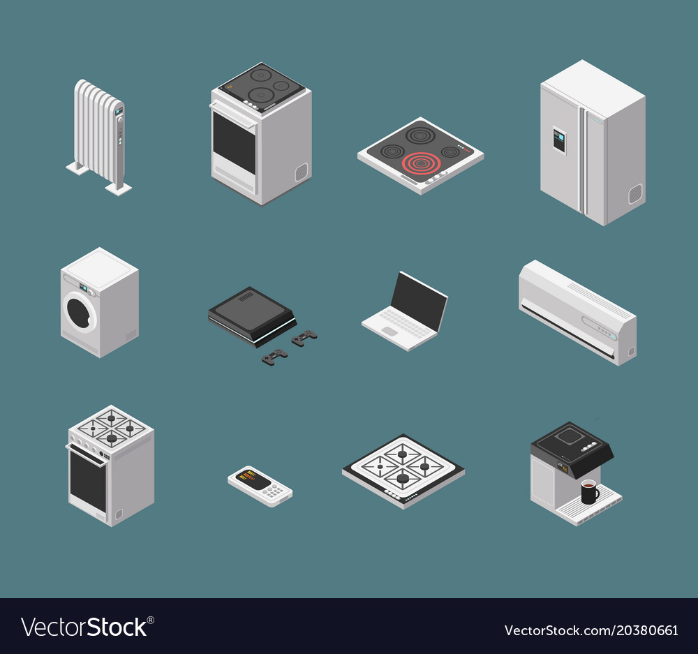 Isometric 3d household kitchen appliance and