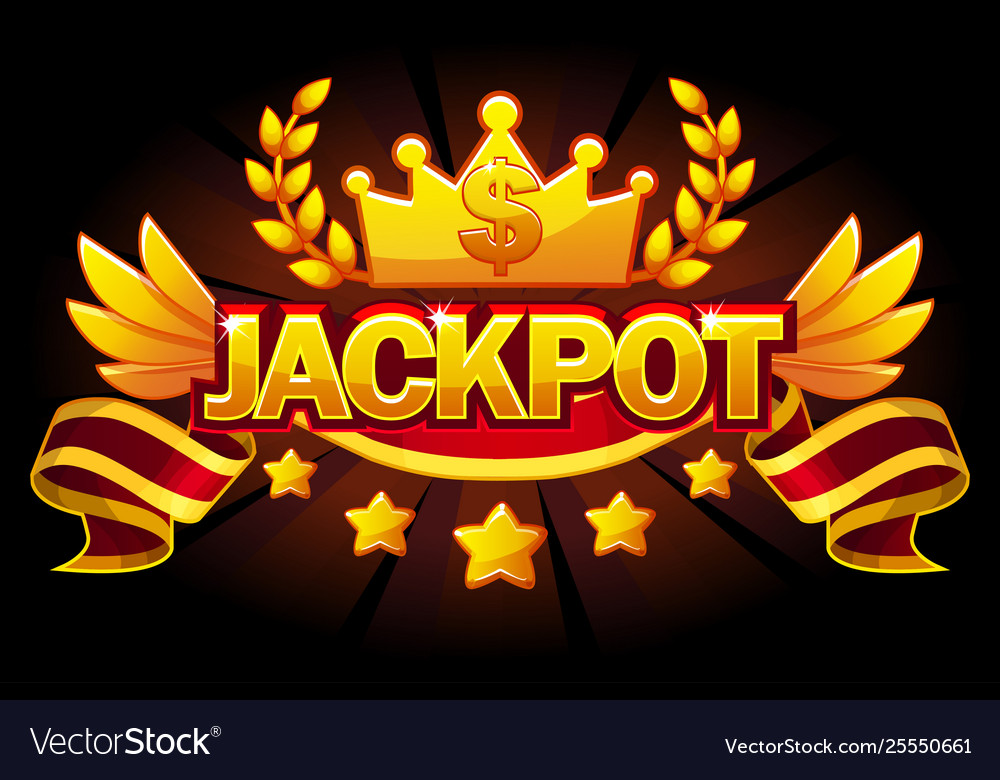 Jackpot banner casino label with crown and ribbon