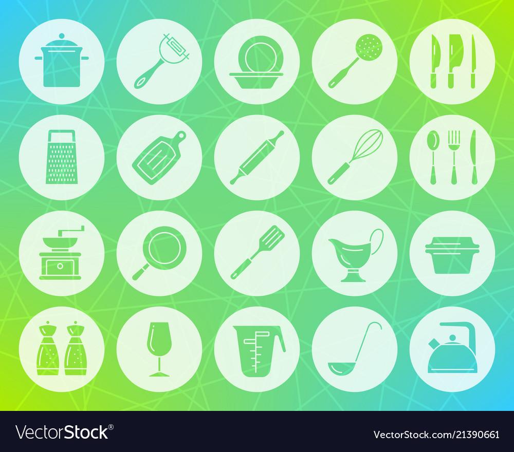 Kitchenware shape carved flat icons set