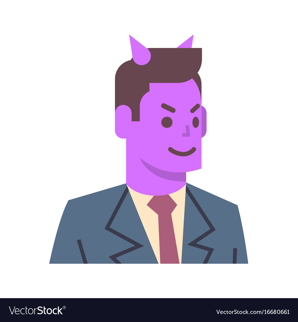 Male devil emotion icon isolated avatar man facial